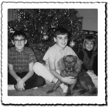 The Wolff brothers about to about to take sister Lisa to visit Santa.