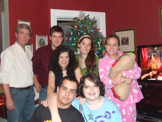 Family gathering, Christmas 2011: Rick and Amy and the kids (counter-clockwise from bottom left): Nate, Joey, Miranda, Jess (latest riser, apparently) and Chris