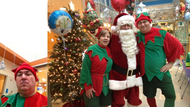 Joe Cosgriff, New York City, years after Santa's knee, volunteers as an elf at the hospital.