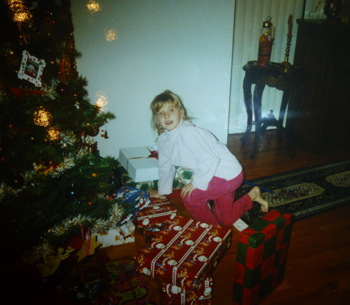 Christmas past- Laura checking out what Santa left her.